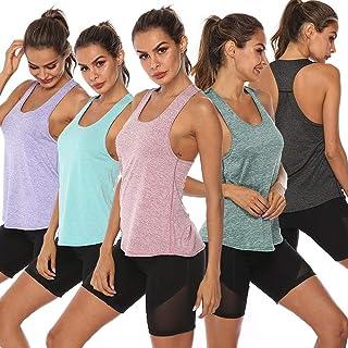 Gecheer Women Workout Tops Racer Back Solid Sleeveless Yoga Fitness Running Gym Lounging Quick Dry Sport Tank Tops