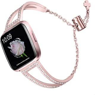 bayite Bling Bands Compatible with Fitbit Versa/Versa 2 Band for Women, Stainless Steel Metal Jewelry Bracelet Bangle Wristband, 3 Colors Available