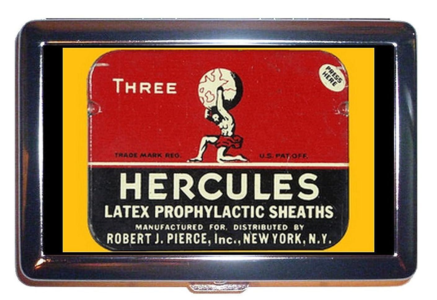 ジュースエレガント一回Retro Condom Graphic Hercules Stainless Steel ID or Cigarettes Case (King Size or 100mm) by Coastal Colors
