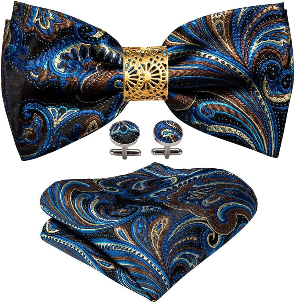 UXZDX CUJUX Blue Floral Silk Pre-Bow Tie for Men Wedding Accessorie Adjustable Butterfly Handky Removable Gold Ring Set (Color : Blue Floral, Size : One Size)