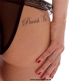 "5 x""Punish Me"" /""Fuck Me"" Tattoo Lettering in black- Sexy Kinky Tattoo"