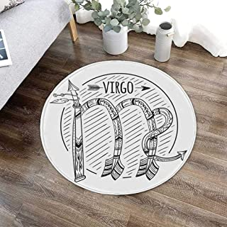 Virgo Ultra Soft Round Mat,Black and White Symbol Zodiac Sign Astrologic Celestial Alignments Predicting Future for Kitchen Living Room,23.62