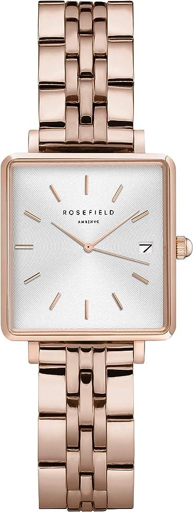 Rosefield the boxy xs, orologio per donna, cassa in ottone, cinturino in acciaio placcato oro 18 kt QMWSR-Q022