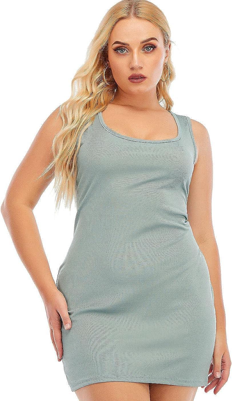 PYL Women Plus Size Tank Basic Dress, Casual Swing Sleeveless Sundress for L-5XL