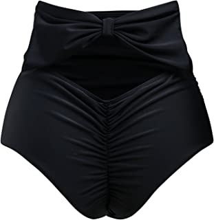 ZOHAMUNG Women's High Waisted Bikini Bottoms Brazilian Cheeky Cut Out Bow Ruched Tankini Panties