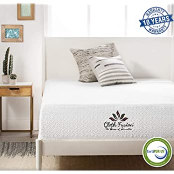 "Cloth Fusion Fruton 2nd Gen 8 inch Gel Memory Foam Mattress for King Size Bed (78"" x 72"" x 8"", White)"