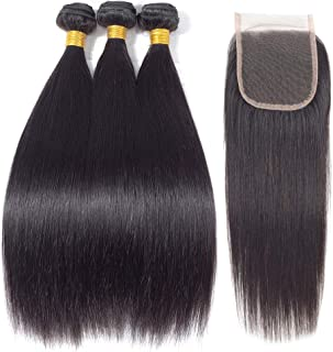 Fashion Vila Straight Hair 3 Bundles with Closure(22 24 26+20Closure) 10A Brazilian Virgin Straight Hair Closure and Bundles Unprocessed Straight Human Hair Weft with Closure