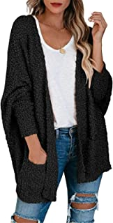 Byinns Women Bat Sleeve Oversized Furry Cardigan with Pockets Solid Color Soft Knitcoat Loose Fitting Sweater Coat Outwear