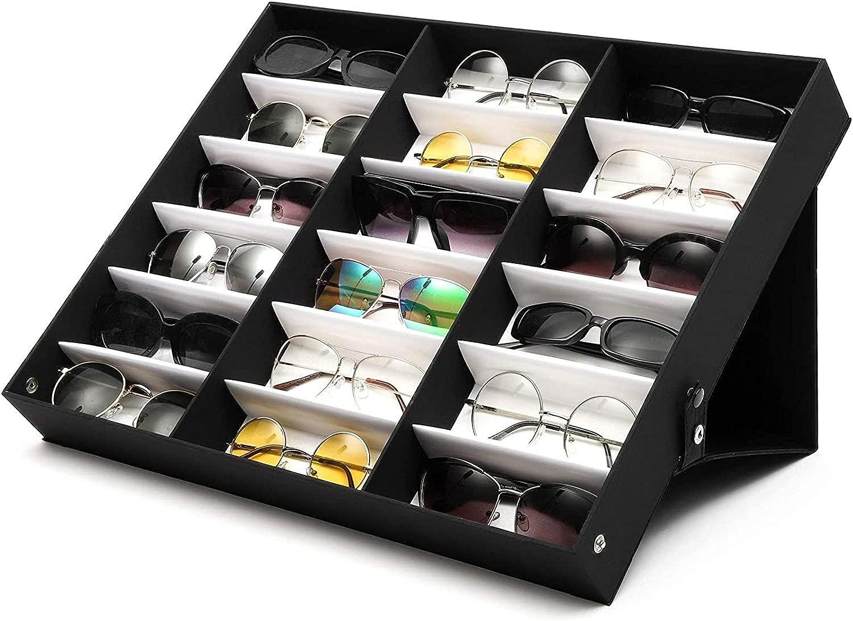 Juvale Sunglasses Organizer Stand 18 Slot Display Case (18.5 x 14.25 x 2.5 in Black)