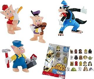 Comansi Lote 4 Figuras Bullyland Los 3 cerditos y el Lobo Feroz - Nanafe - Nanufe - Cacofe - Lobo Feroz + Regalo