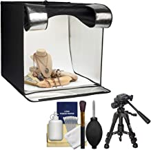 Smith-Victor 15.5-Inch Desktop LED Light Box Studio Tent with Turntable, 4 Backgrounds & Case with Macro Tripod + Cleaning Kit