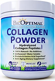 BioOptimal Collagen Peptides, Collagen Powder Grass Fed, Non-GMO Premium Quality Hydrolyzed Collagen Protein, Pasture Raised, Dissolves Easily, 16 Ounces