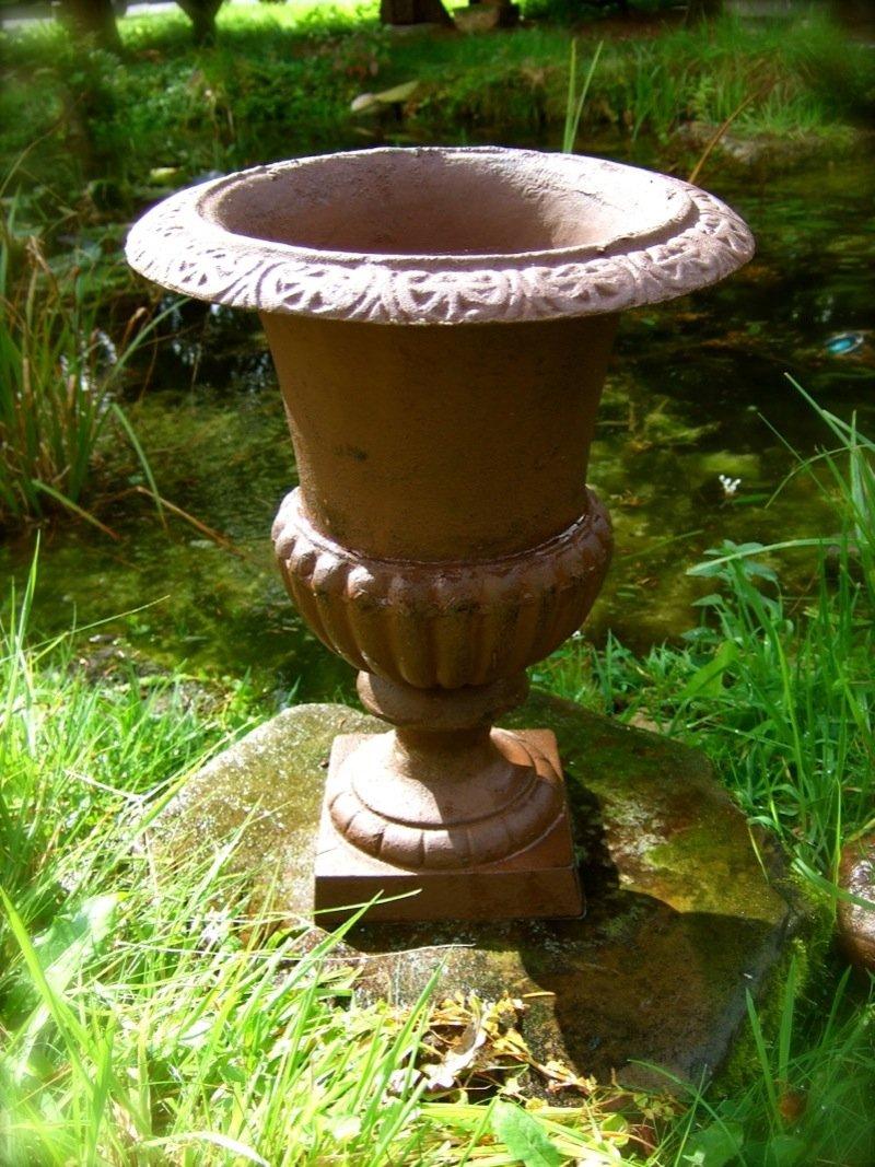 Antikas - maceta para plantas de hierro fundido - ánfora frances - maceta para jardín - cubo plantas - macetero - maceta - decoración de jardín: Amazon.es: Jardín