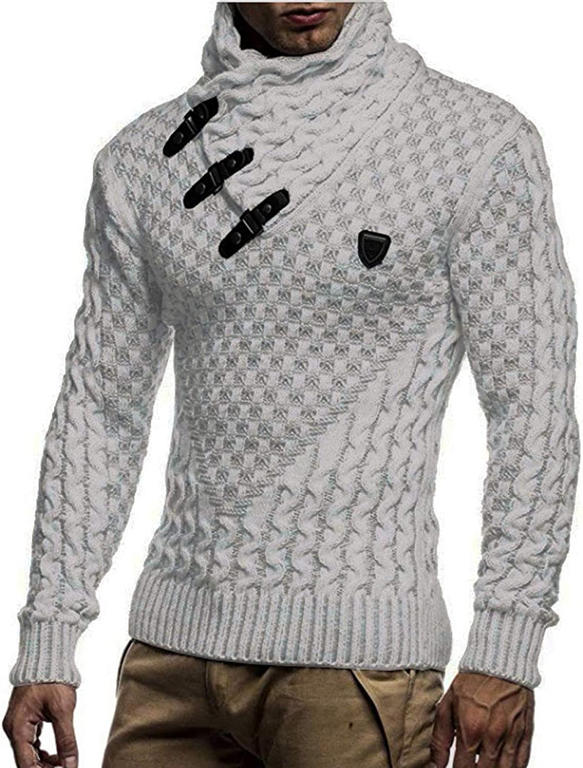 Maryia Men's High Collar Knitted Long Sleeve Pullover Winter Sweaters Jumper Tops Casual Slim Fit Sweatshirt White