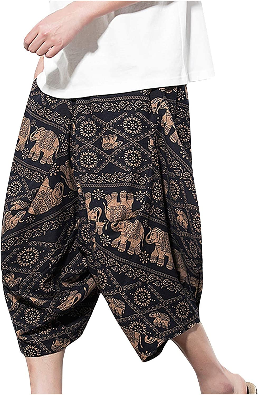 PHSHY Mens Baggy Cotton Harem Pants Casual Drawstring Elastic Waist Wide Leg 3/4 Shorts Loose Beach Yoga Capri Trousers