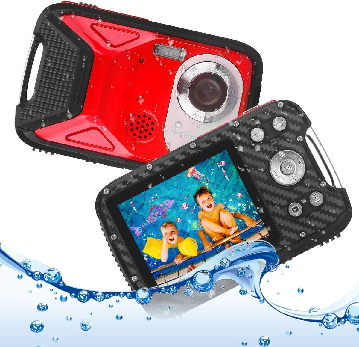 Heegomn Cámara Digital Impermeable para niños, 16MP Full HD 1080P, Zoom Digital 8X, Cámara subacuática para Adolescentes/Principiantes (Rojo)