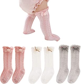 Fatu Fashion Baby Knee High Socks Non Slip Grip Ankle Socks Ruffled Long Stockings for Infants Toddlers Kids Boys Girls (P...