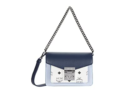 MCM Patricia Visetos Leather Block Crossbody Mini (Mood Indigo) Bags