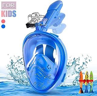 Máscara de Buceo,Plegable Máscara Snorkel 180 °Cara Completa de Panorámico Visión Tecnología Anti-vaho Anti-Fugas Mascara Snorkel Apoyo Camara Deportiva para Niños