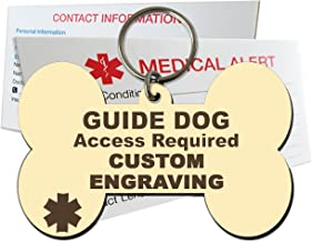Guide Dog Identification Tag Custom Engraved Dog Bone Plastic Made in USA - Ivory - Large