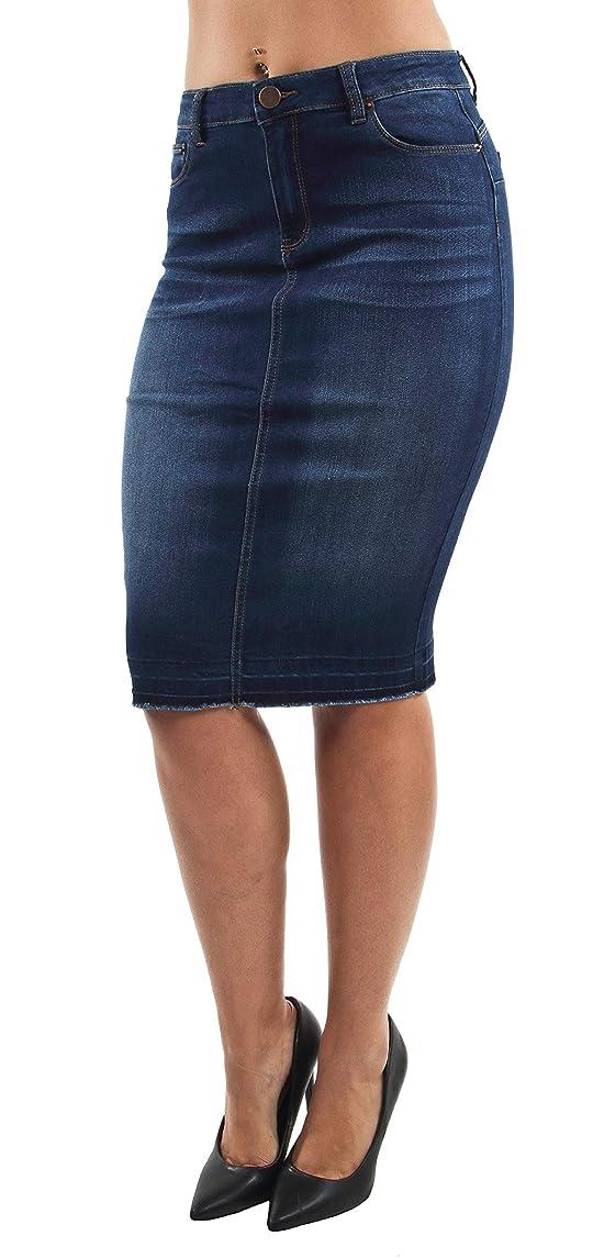 Women's Junior/Plus Size Butt Lift, Push Up, Knee Length Midi Pencil Denim Skirt