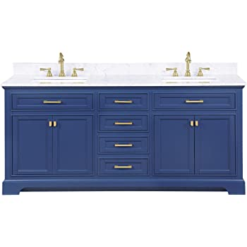 "Design Element ML-72-BLU Milano 72"" Blue Bathroom Vanity with Double Sink Carrara Marble Countertop"