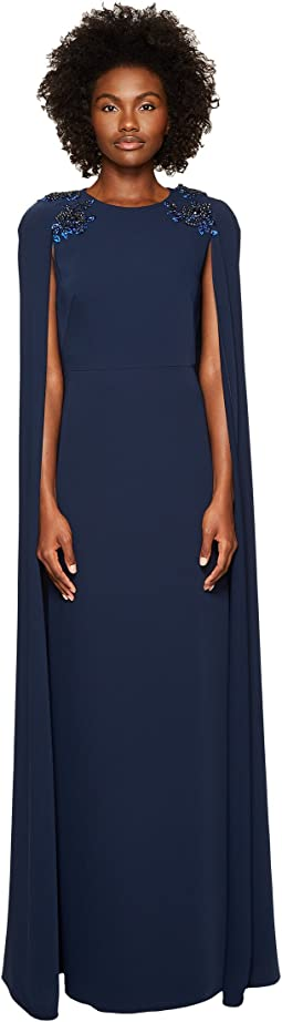 Stretch Crepe Cape Gown w/ Beaded Shoulders
