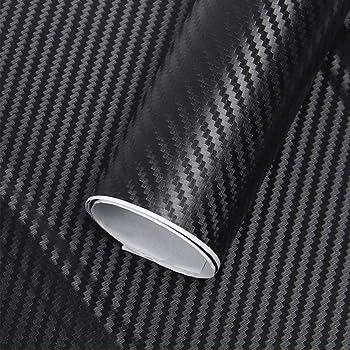 hoden-mx 1.27mx30cm Hoja de Envoltura de Vinilo de Fibra de Carbono para Coche Película de Rollo Libre de Burbujas Pegatinas de Coche 3D Calcomanías Accesorios de diseño de automóviles-Negro