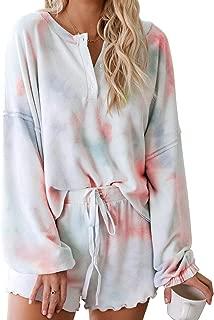 Asvivid Womens Tie Dye Printed Ruffle Short Pajamas Set Long Sleeve Tee and Pants PJ Set Loungewear Nightwear Sleepwear