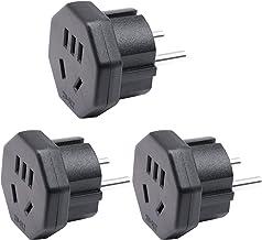3-Pin AU/NZ/Australia/New Zealand Plug to EU/DE/FR/IT/ES Adaptor Plug, 2-Pin US/JP/CA Plug Electronic Appliance Fit to 2-P...