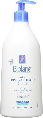 Biolane – Gel Corps et Cheveux 2 en 1 – Gel lavant doux pour la peau sensible et les cheveux fins du bébé – flacon po...