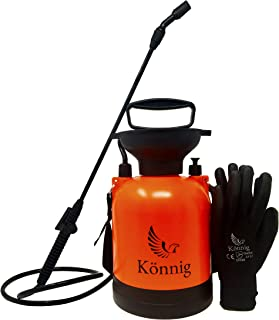 Könnig 0.8 Gallon Lawn, Yard and Garden Pressure Sprayer For Chemicals, Fertilizer, Herbicides and Pesticides with FREE Pair of Garden Gloves (0.8 Gallon)