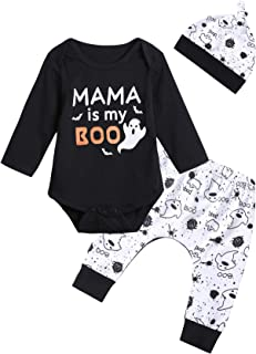 3PCS Baby Boys' Mama is My Boo Clothes Set Halloween Ghost Costume Pants with Hat
