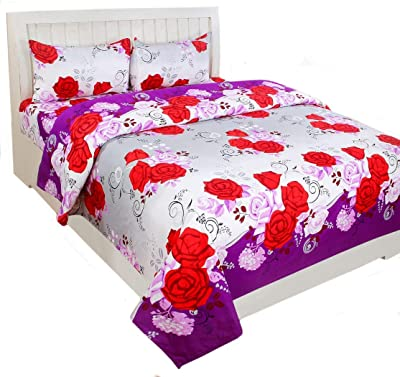 Zaildar 150 TC Microfibre Polycotton 3D Double Bedsheet with 2 Pillow Covers - Floral, Multicolor