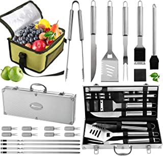 ROMANTICIST 20pc Complete Grill Accessories Kit with Cooler Bag - The Very Best Grill Gift on Birthday Wedding - Professio...