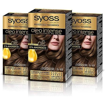 Syoss Oleo Intense - Tono 5-10 Castaño Claro (Pack De 3) – Coloración permanente sin amoníaco – Resultados de peluquería – Cobertura profesional de ...