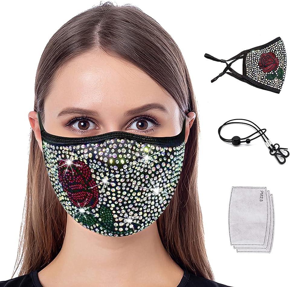 Premium Bling Rhinestone Face Mask Fashion Glitter Diamond Mask for Women Girls Sparkly Reusable Cloth Party Masks