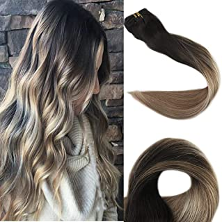 Full Shine 18 inch Balayage Real Human Hair Extensions Pastel Hair Color #1B Off Black Fading to #8 Brown and #22 Blonde Ombre Clip Hair Extensions 10Pcs 100gram Per Set