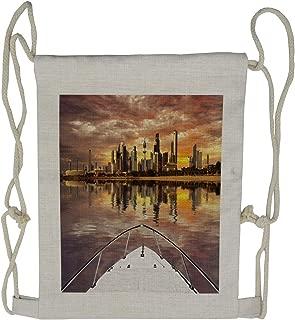 Ambesonne Travel Drawstring Backpack, Kuwait Cityscape, Sackpack Bag