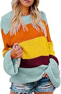 Flare Sleeve Panel Pullover Sweater Women Tops Casual Loose Colorful Crew Neck Striped SWE,
