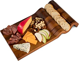 Nest & Nook Cheese Board | Large Charcuterie Board - Real Acacia Wood Trays. For Serving Cheeses, Meats, Crackers, Wine. Wedding Presents or Housewarming Gift.