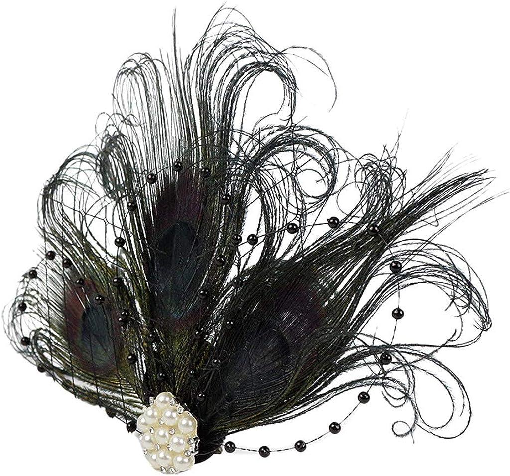 Kulywon for Women Tea Party Wedding Headband Feather Brooch Hair Clip