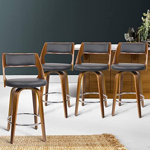 Bar Stools 4 Pcs 65cm Seat Height Contoured PU Leather Foam Wood Counter High Bar Stools Counter Stool Chairs for Hom...