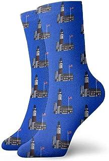 tyui7, Calcetines de compresión antideslizantes con patrón de faro de la bandera americana Calcetines deportivos de 30 cm acogedores para hombres, mujeres y niños