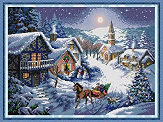 Joy Sunday Cross Stitch Kits 14CT Counted Dusk in The Snow 20.9