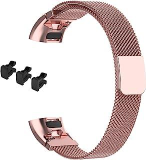 HUAWEI Band 3 Pro/Band 3 / Band 4 Pro 対応バンド 交換バンド ステンレス製 金屬ベルト 5色可選 Sooyeeh ミラネーゼループ 高級感 ビジネス風 裝著簡単 マグネットロック (ピンク)