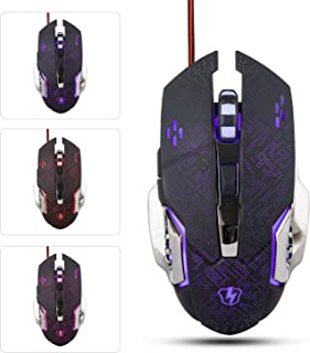 Gaming Mouse Pad, MCHEETA Gaming Keyboard and Mouse, 4 Adjustable DPI Levels, USB Wired LED 4 Color Breathing Light Mice for Pro Gamer(Black