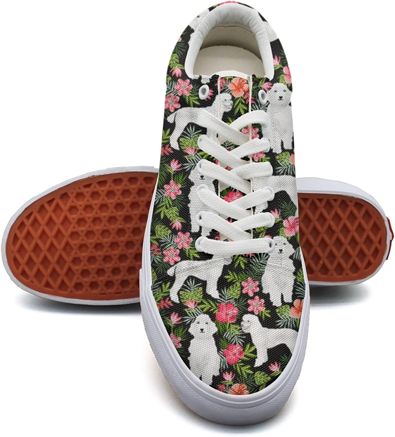 White Poodle Dog Hawaiian Floral Womens Flat Sneakers shoes Low Top Neon Cloth shoes for Women's