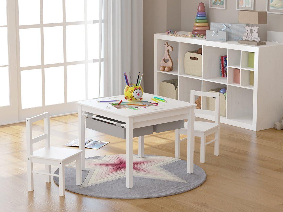UTEX-2 in 1 Multifunktion Kindersitzgruppe,1 Kindertisch Und 2 Stühle Sitzgruppe Für Kinder,Aus Holz, Kindermöbel Mit Stauraum,Weiß+Rot Weiß