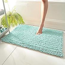 Thicken Bathroom Non-Slip Mat, Door Mat, Super Absorbent Rug (2pcs),Light Blue,40x60cmx2